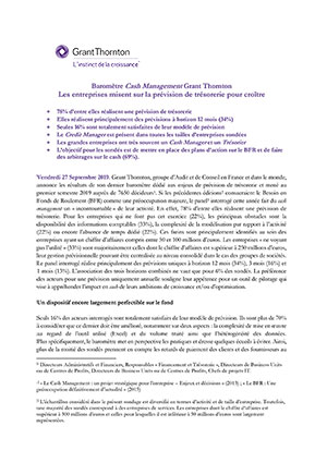 Baromètre Cash Management Grant Thornton