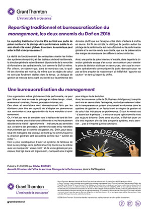 Reporting traditionnel et bureaucratisation du management.